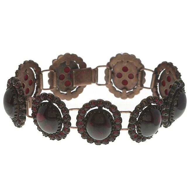 Pre-owned 12k Pink Gold Antique Garnet Bracelet