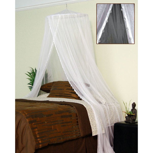 Shop Nile Clear Jewel Beads Sheer White Bed Canopy - Free Shipping ...