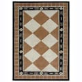 Hand-tufted Tile Brown Wool Rug (5' x 8')