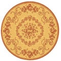 Indoor/ Outdoor Garden Natural/ Terracotta Rug (5'3 Round)