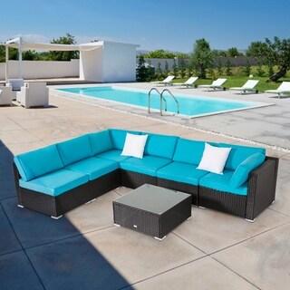 Kinbor All-weather Rattan Cushioned Sectional Sofa Patio Furniture Set