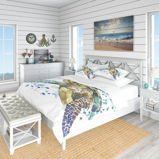 Designart 'Blue Sea Turtle Illustration' Nautical & Coastal Bedding Set - Duvet Cover & Shams