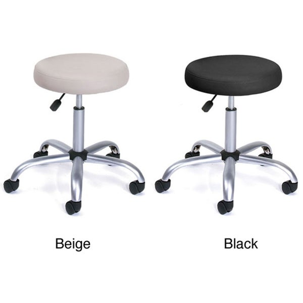 boss caressoft vinyl and chrome adjustable backed wheeled stool