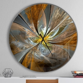 Designart 'Symmetrical Yellow Fractal Flower' Oversized Wall Clock