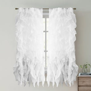 """Sweet Home Collection Waterfall Ruffled 63 Inch Single Curtain Panel - 63""""x50"""""""