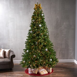 9-foot Noble Fir Pre-Lit String Light or Unlit Hinged Artificial Christmas Tree by Christopher Knight Home