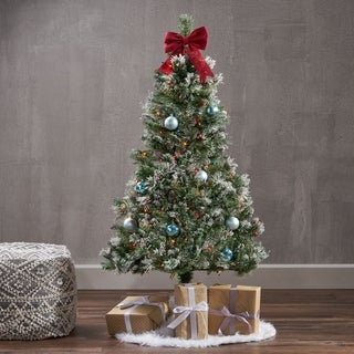 4.5-ft Spruce Pre-Lit or Unlit Artificial Christmas Tree with Snow Glitter Branches Frosted Pinecones by Christopher Knight Home