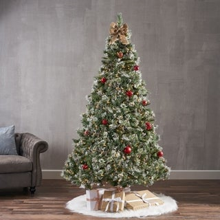 7-ft Spruce Pre-Lit or Unlit Artificial Christmas Tree with Snow, Glitter Branches, Frosted Pinecones by Christopher Knight Home