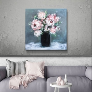 ArtWall White flowers in a black vase Gallery Wrapped Canvas - Pink