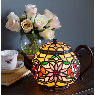 "Copper Grove Carnach 6.5-inch high Stained Glass Teapot Accent Lamp - 10""L x 7""W x 6.5""H"