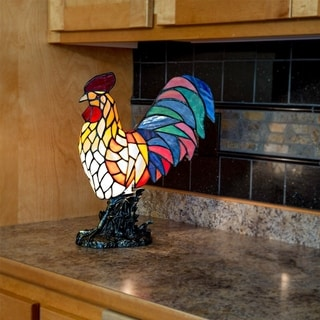 """The Gray Barn Tara Multicolor Resin 15.5-inch Rooster Stained Glass Accent Lamp - 12.5""""L x 7.0""""W x 15""""H"""