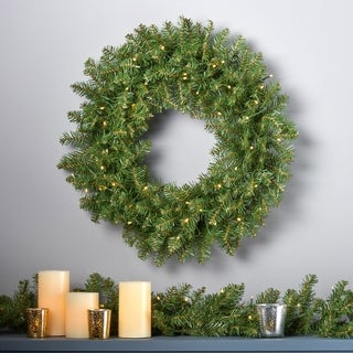 "24"" Fraser Fir Pre-Lit Warm White LED Artificial Christmas Wreath by Christopher Knight Home"