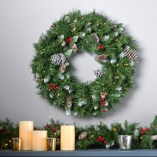 """24"""" Mixed Spruce Christmas Wreath 50 Warm White LED Lights, Frosted Branches, Red Berries & Pinecones by Christopher Knight Home"""