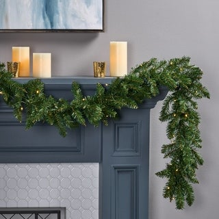 9-foot Norway Spruce Pre-Lit Warm White LED Artificial Christmas Garland by Christopher Knight Home