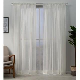 ATI Home Hemstitch Sheer Embellished Rod Pocket Top Curtain Panel Pair