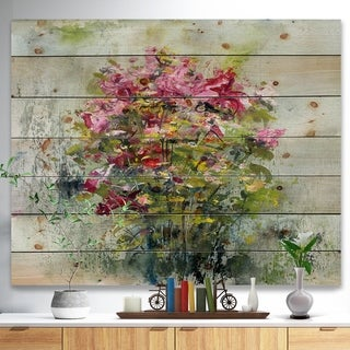 Designart 'Bouquets of Roses Painting Art' Floral Print on Natural Pine Wood - Green