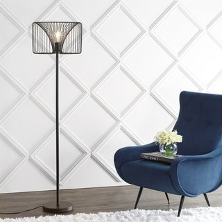 "Gridley 61"" Metal LED Floor Lamp, Black by JONATHAN Y - 61"" H x 16"" W x 16"" D"
