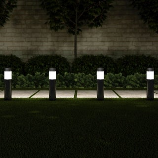 "Solar Path Bollard Lights, Set of 6 15"" Stainless Steel Pure Garden"