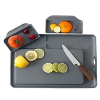 Double Save Cutting Board Dark Grey color with 2 removable trays