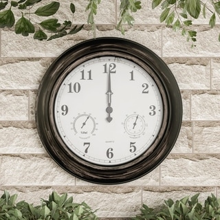 "Wall Clock Thermometer 18"" Quartz Battery-Powered Pure Garden"