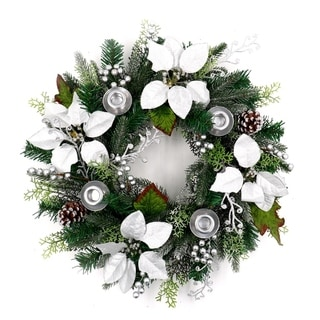 ALEKO Decorative Holiday Christmas Advent Wreath with 4 Candle Holders