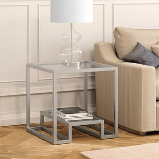 Athena Geometric Luxe Side Table in Silver