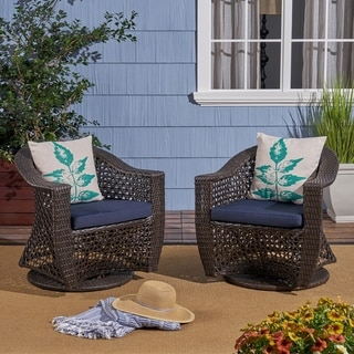 Big Sur Outdoor Wicker Swivel Chair with Cushions (Set of 2) by Christopher Knight Home