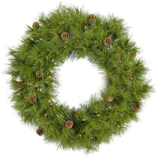 Fraser Hill Farm 36-In. Eastern Pine Artificial Holiday Wreath with Clear Battery-Operated LED String Lights