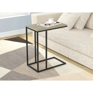 Accent Table/End Table/End Night Stand/Bedside-Dark Taupe/Black Metal