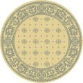 Indoor/ Outdoor Beaches Natural/ Blue Rug (5'3 Round)