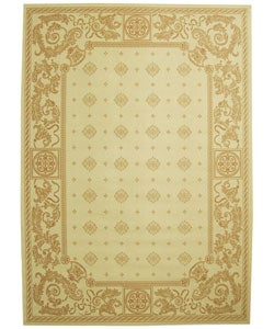 Indoor/ Outdoor Beaches Natural/ Terracotta Rug (7'10 x 11')