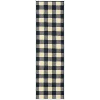 """The Gray Barn Garland Gale Gingham Black and Ivory Indoor/ Outdoor Runner Rug - 2'3"""" x 7'6"""" Runner"""