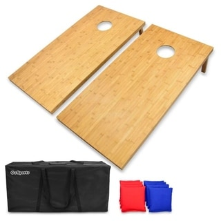 GoSports Bamboo Regulation Size Bamboo Cornhole Set Includes 8 Bean Bags & Carrying Case