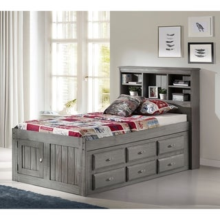 Solid Pine Charcoal Twin Bookcase Bed with 12 drawers