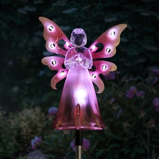 Solar Pink Angel Stake with LED Wings