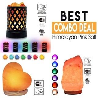 Himalayan Glow Multicolor USB Salt Lamp,Gift Set,3 Pcs