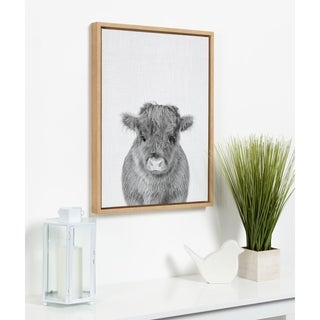 Kate and Laurel Sylvie Baby Cow Framed Canvas by Simon Te Tai - 18x24