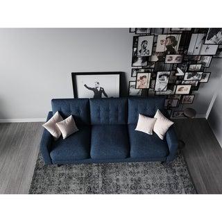 US Pride Furniture Ruthe Blue Matte Velvet and Wood Mid-century Modern Sofa
