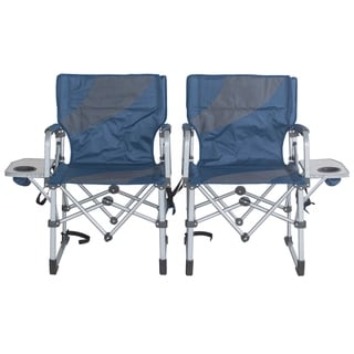 Folding Camping Chairs with Side Table Set of 2