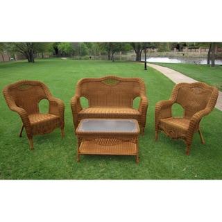 International Caravan Maui Outdoor Loveseat, Chairs and Coffee Table Set
