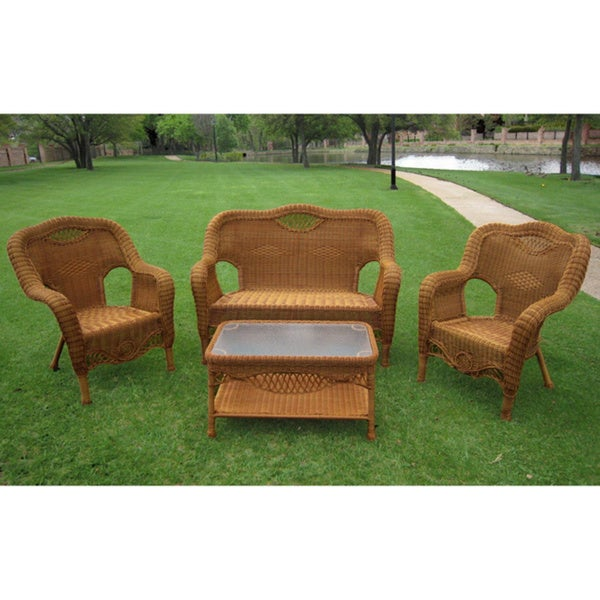 International Caravan Maui Outdoor Loveseat, Chairs and Coffee Table Set