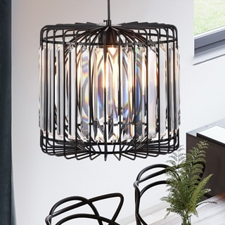 Mirio 14-inch Cylindrical Caged Pendant Lamp Matte Black Finish