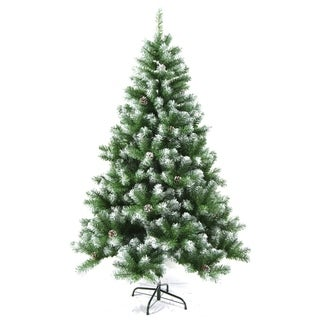 ALEKO Snow Dusted Artificial Christmas Tree with Pine Cones 8 Foot