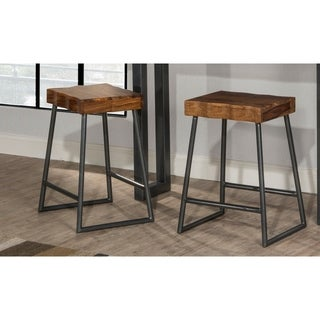 "Carbon Loft Mattison Live Edge Square Non-swivel Backless Counter Stool - 17""W x 14""L x 26""H"