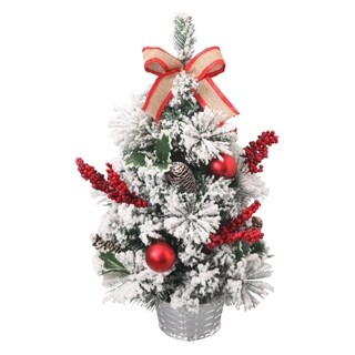 ALEKO Christmas Snow Dusted Christmas Desk Tree with Burlap Bow 23.5 Inches