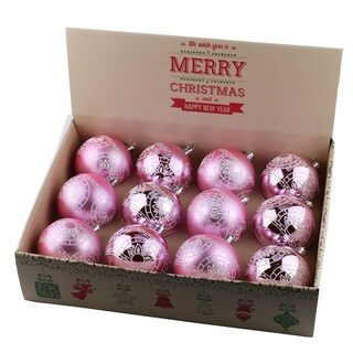 ALEKO Christmas Winter Print Ornament Holiday Set with Decorative Box Set of 12 Light Pink