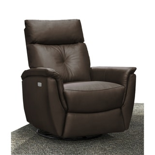 Emric Contemporary Leather Power Swivel/Rocker Recliner