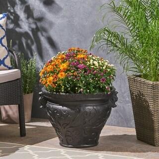 Largo Roman Botanical Round Lightweight Concrete Garden Urn Planter Pot by Christopher Knight Home