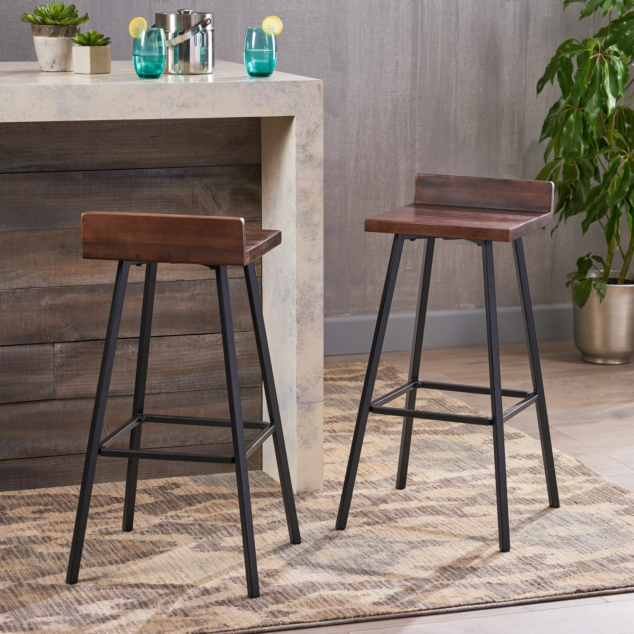 Set of 2 Bidwell Contemporary Indoor Acacia Wood Bar Stools with Iron Legs by