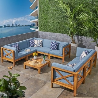 Brava Outdoor 9-Piece Acacia Wood Sectional Sofa Set with Coffee Table by Christopher Knight Home